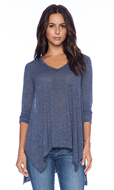Splendid Cozy Melange Jersey Top in Navy