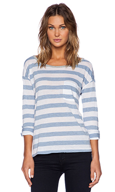 Splendid Bridgewater Stripe Long Sleeve Tee in White