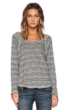 Splendid Marble Thermal Long Sleeve Tee in Pearl