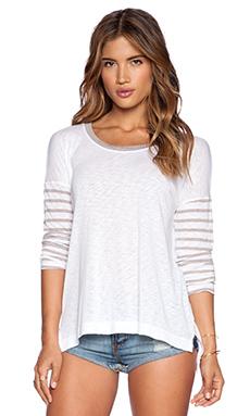 Splendid Nutmeg Stripe Jersey Top in White