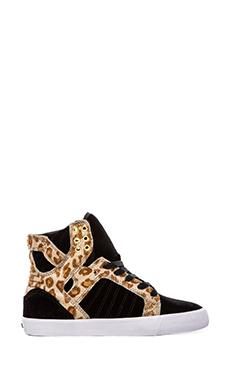 Kerin Rose x Supra A-Morir Skytop Sneaker with Pony Hair in Black Velvet & Cheetah