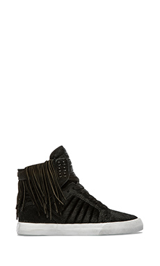 Supra Nocturne Skytop Sneaker with Pony Hair in Black Pony Hair