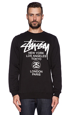 Stussy World Tour Crew In Black