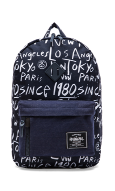 Stussy x Herschel Cities Backpack in Navy Print
