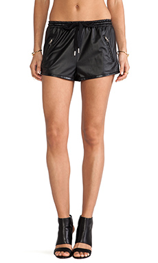Style Stalker Perforated PU Shorts in Black