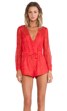 Style Stalker Bedazzled Romper in Red