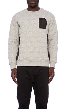 Staple Miramar Quilted Crew in Heather Grey