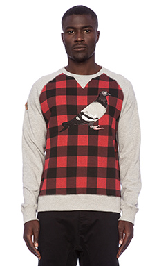 Staple Tartan Pigeon Crew in Heather Grey