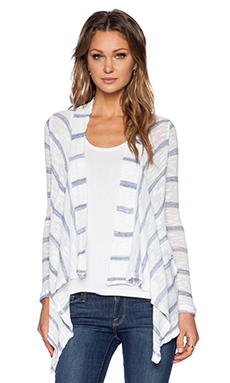 Stateside Stripe Drape Cardigan in White