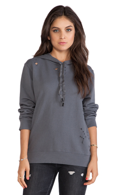 Stateside Distressed Hoodie in Charcoal