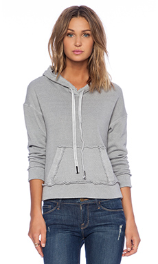 Stateside Raw Edge Hoodie in Silver