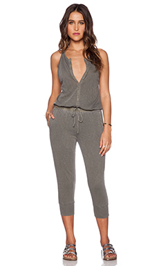 Stateside Button Front Jumpsuit in Fern