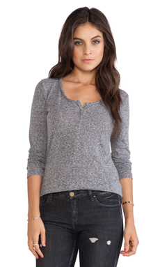 Stateside Long Sleeve Half Button Tee in Heather Gray