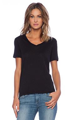 Stateside V Neck Tee in Black