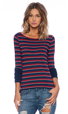 Stateside Long Sleeve Tee in Red & Indigo Stripe