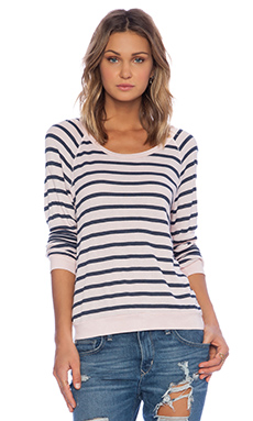 Stateside Stripe Thermal Tee in Blush