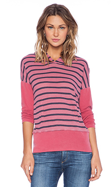 Stateside Stripe Thermal Hoodie Tee in Red Delicious