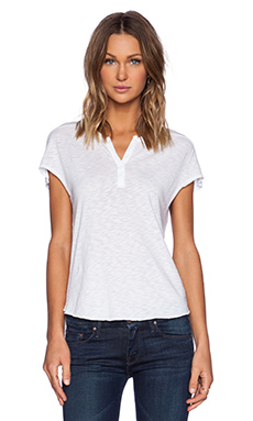 Stateside Short Sleeve Henley in White