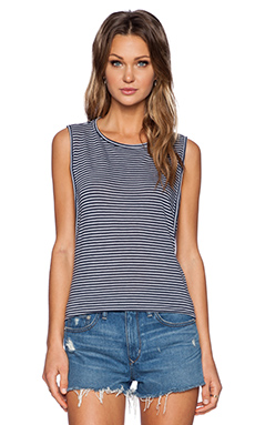 Stateside Mini Stripe Tank in Navy