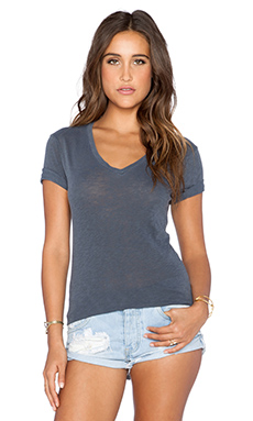 Stateside V Neck Tee in Charcoal