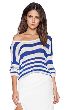 State of Being Loose Stripe Knit Sweater in Blue & White
