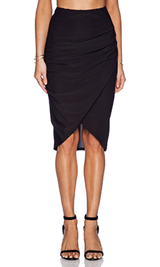 State of Being Twist Wrap Skirt in Black