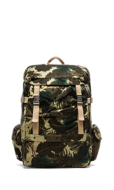 Scotch & Soda Allover Printed Canvas Backpack in Green