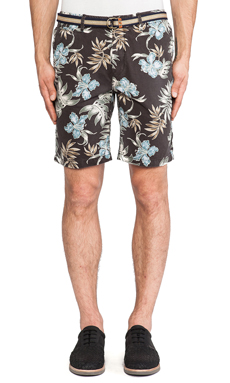 Scotch & Soda G/D Twill Belted Chino Short in Black & Multi