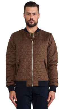 Scotch & Soda Quilted Bomber Jacket in Brown