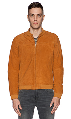 Scotch & Soda Slim Fit Suede Bomber in Camel
