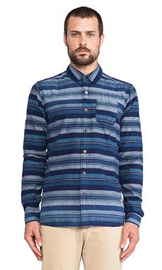 Scotch & Soda Striped & Bath Pattern Button down Shirt in Blue