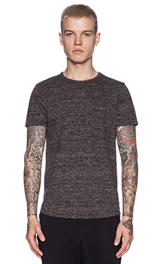 Scotch & Soda Knitted S/S Tee in Black Melange