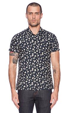 Scotch & Soda Short sleeve Crispy Crincle Shirt in in Black