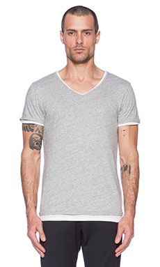 Scotch & Soda Double Layer V-Neck Tee in Grey