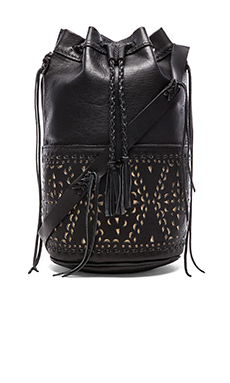 STELA 9 Quixote Large Bucket Bag in Black Negro