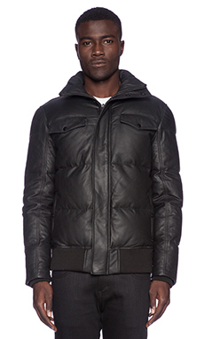 Stampd Leather Puff Jacket in Black