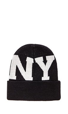 Stampd Large LA NY Beanie in Black/White
