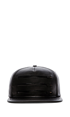 Stampd 3 Zipper Leather Hat en Noir
