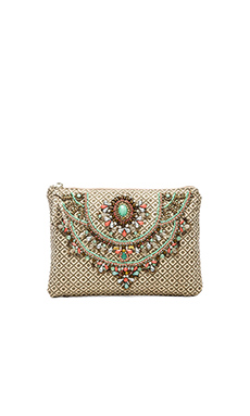 Star Mela Arla Embroidered Clutch in Khaki