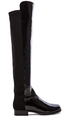 Stuart Weitzman 5050 Stretch Leather Boot in Black Patent