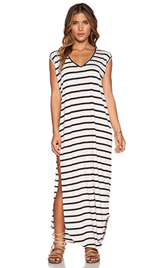 Stillwater The T-Shirt Maxi Dress in Black Stripe