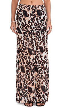 Stillwater The Button Front Maxi Skirt in Blush Leopard