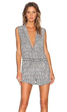 Stillwater The Jet Set Short Romper in Woven Palm