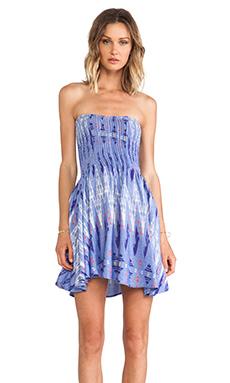 Surf Gypsy Tie Dye Strapless Mini Dress in Blue