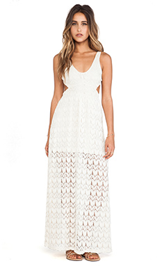 Surf Gypsy Crochet Open Back Maxi Dress in Ivory