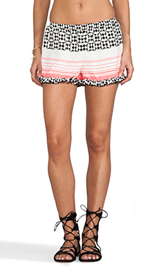Surf Gypsy Printed Shorts in Ivory & Neon Pink