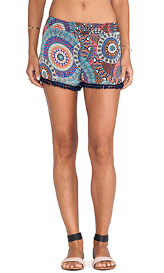 Surf Gypsy Tribal Print Pom Pom Shorts in Multi