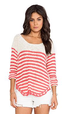 Surf Gypsy Stripe Crochet Sweater in Ivory & Coral