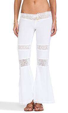 Surf Gypsy Crochet Gauze Pants in White