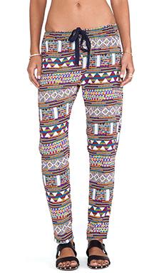 Surf Gypsy Tribal Print Pants in Orange & Navy